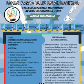 LOMBA KARYA TULIS ILMIAH NASIONAL // HORAS HEALTH FEST 2016