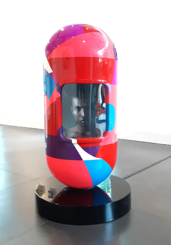 Erwin Windu P 02_Personal Space of Sam_Polyurethane paint, iron sheet, LED TV_d 45 cm, h 100 cm_2018 (1)